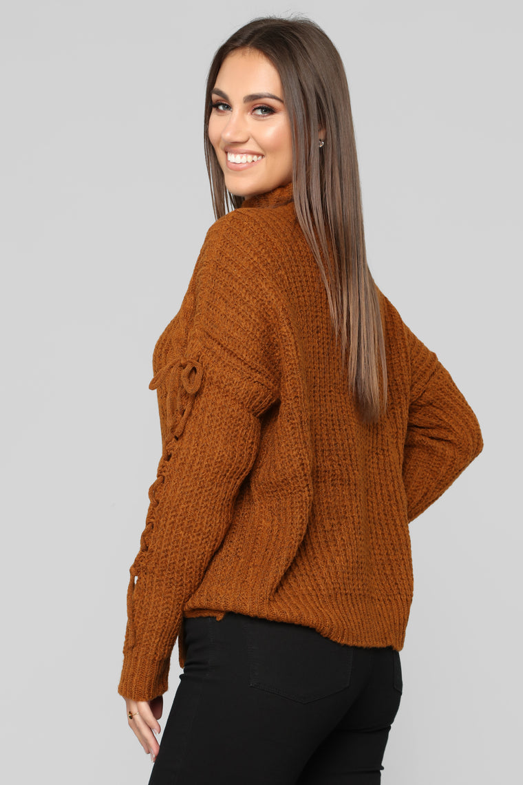 Cuddle Season Sweater - Cognac