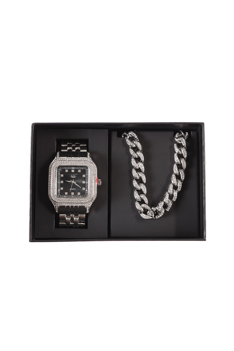 Said Enough Chain And Watch Boxed Set - Silver