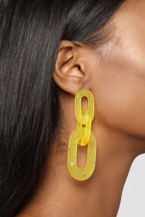 A Lucite To See Earrings - Yellow
