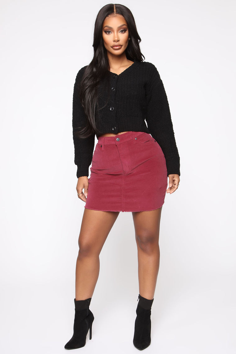 Never Alone Corduroy Mini Skirt - Red
