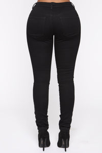 All That Glitters Low Rise Skinny Jeans - Black Angle 5