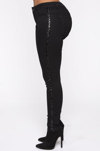 All That Glitters Low Rise Skinny Jeans - Black Angle 1