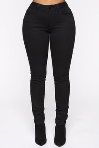 All That Glitters Low Rise Skinny Jeans - Black Angle 3
