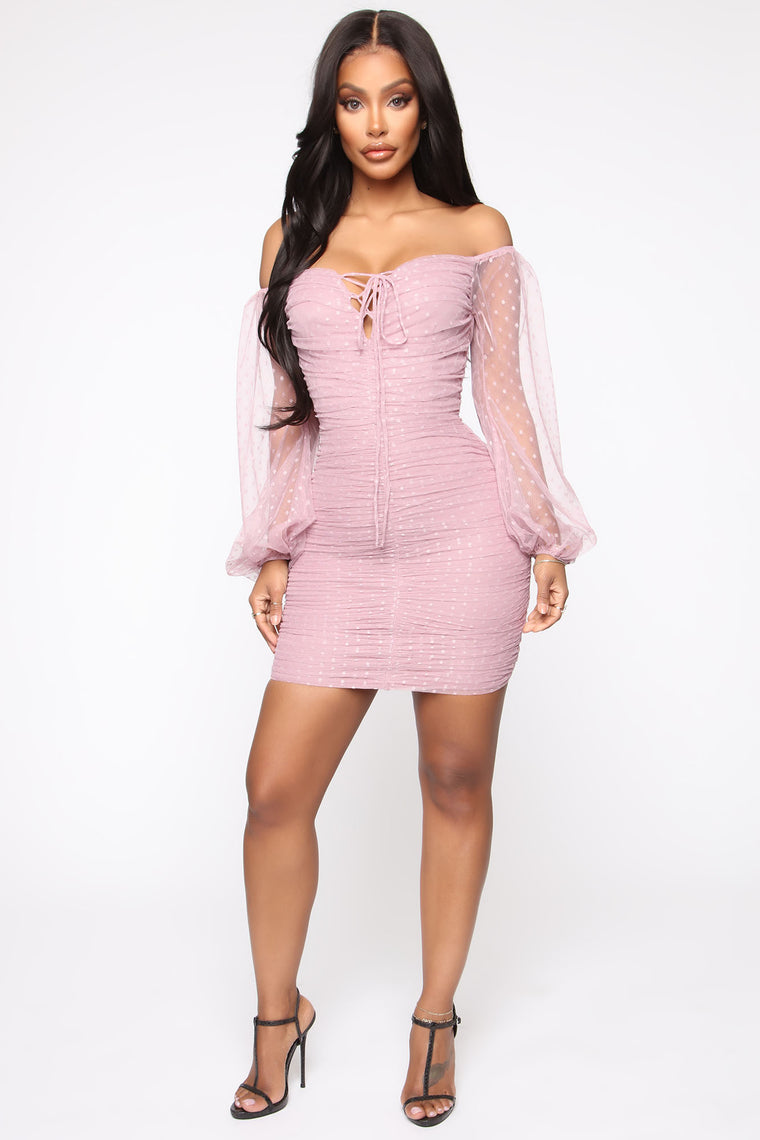 loving-abilities-off-shoulder-ruched-mini-dress---pink by fashion-nova