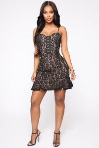 Love And Lace Mini Dress - Black Angle 2