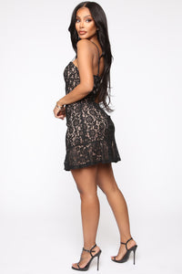 Love And Lace Mini Dress - Black Angle 3