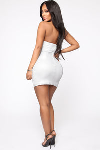 Walking Towards You Mini Dress - Silver