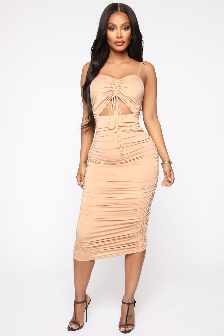 Bad For You Ruched Midi Dress   Nude by Fashion Nova