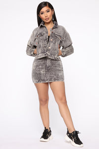 Never Really Over Corduroy Jacket - Charcoal