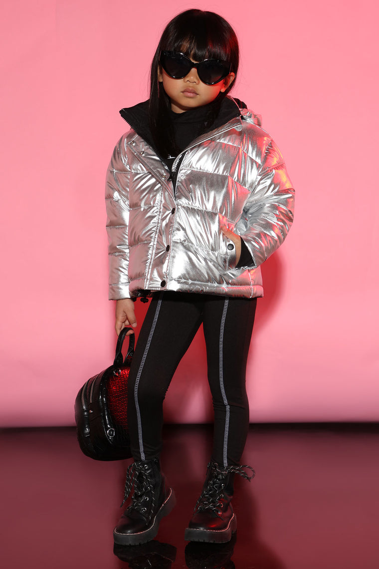 Mini Super Duper Fly Puffer Jacket - Silver