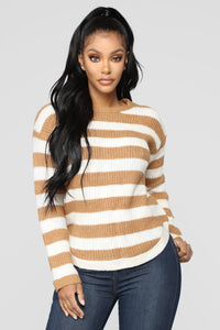 Cozy Stripes Sweater - Camel