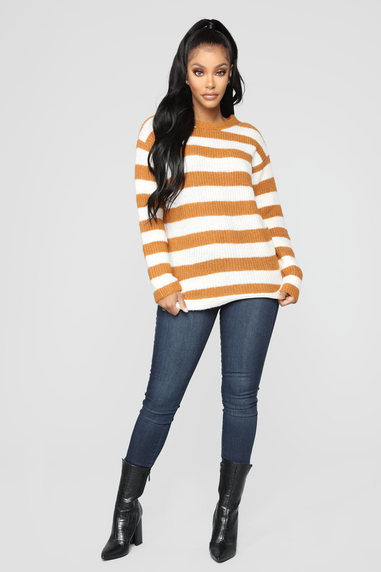 Cozy Stripes Sweater - Mustard