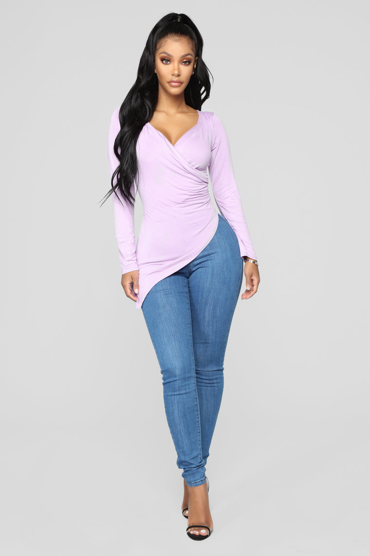 Draped Down Tunic - Lilac