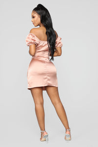 Cute And Sweet Satin Mini Dress - Champagne