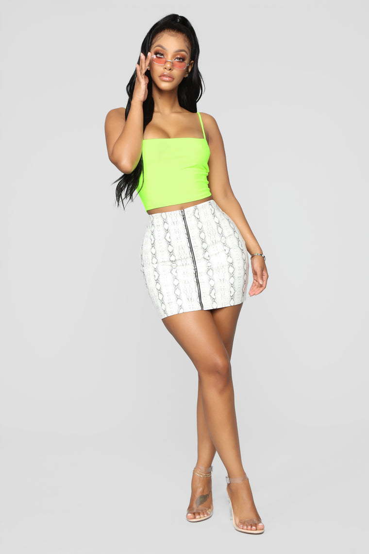 Aimee Cropped Top - Neon Yellow