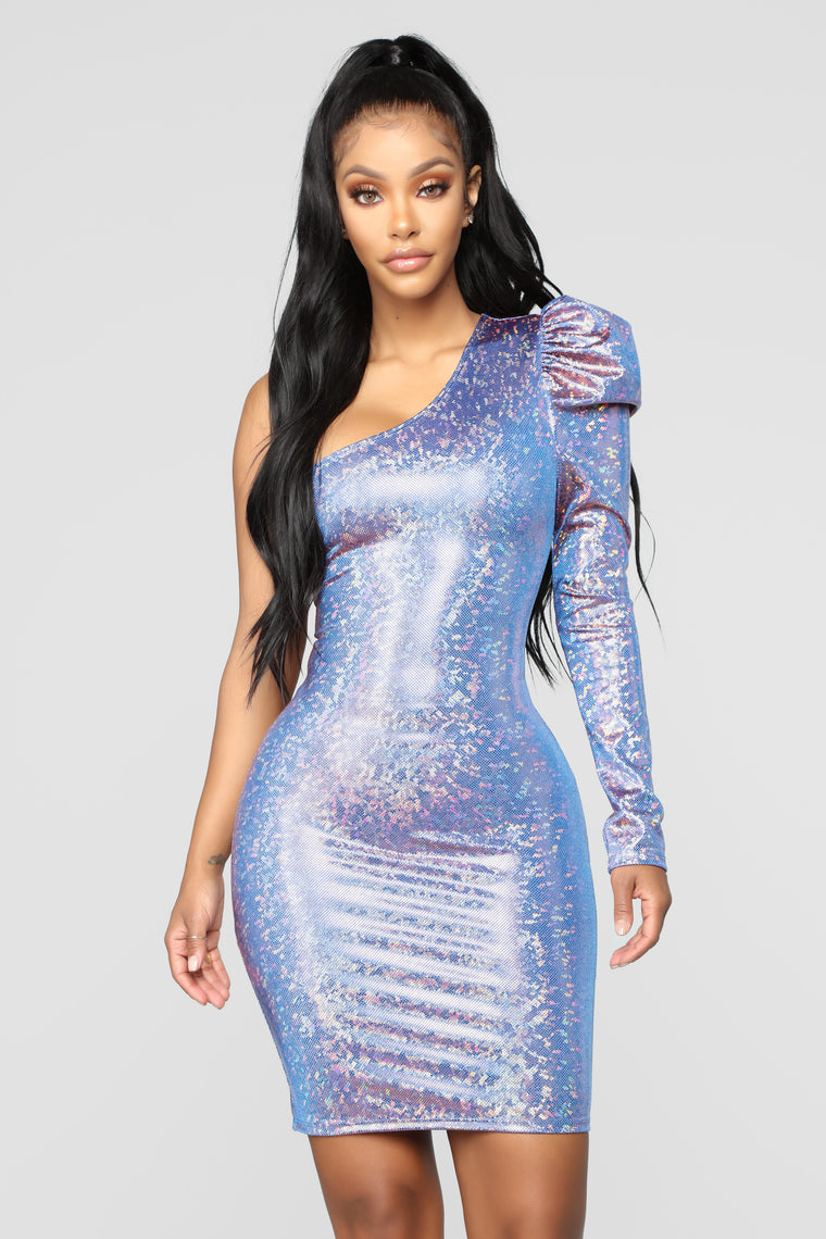 Steal The Show Holographic Dress - Purple-5641