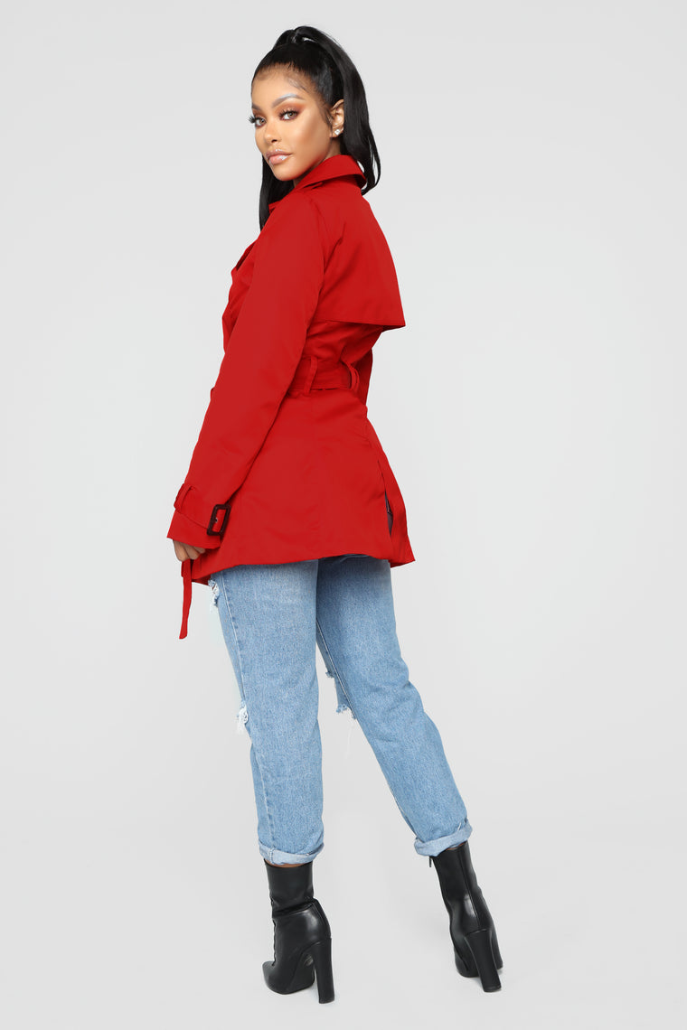 Catch Me In NY Trench Coat - Red