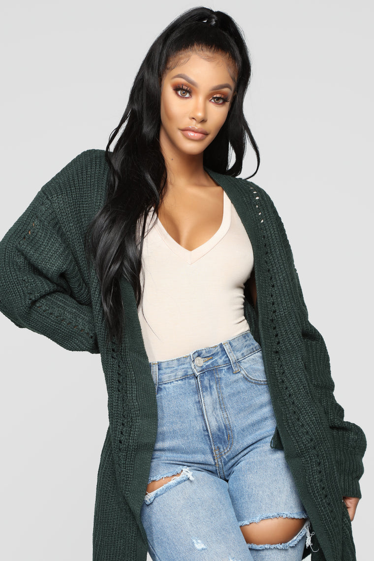 Are You Knitting Me Cardigan - Hunter Green