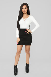 Nonstop Lace Up Sweater - Ivory Angle 2