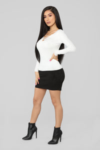Nonstop Lace Up Sweater - Ivory Angle 4