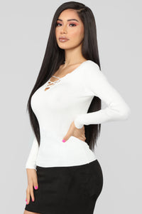 Nonstop Lace Up Sweater - Ivory Angle 3