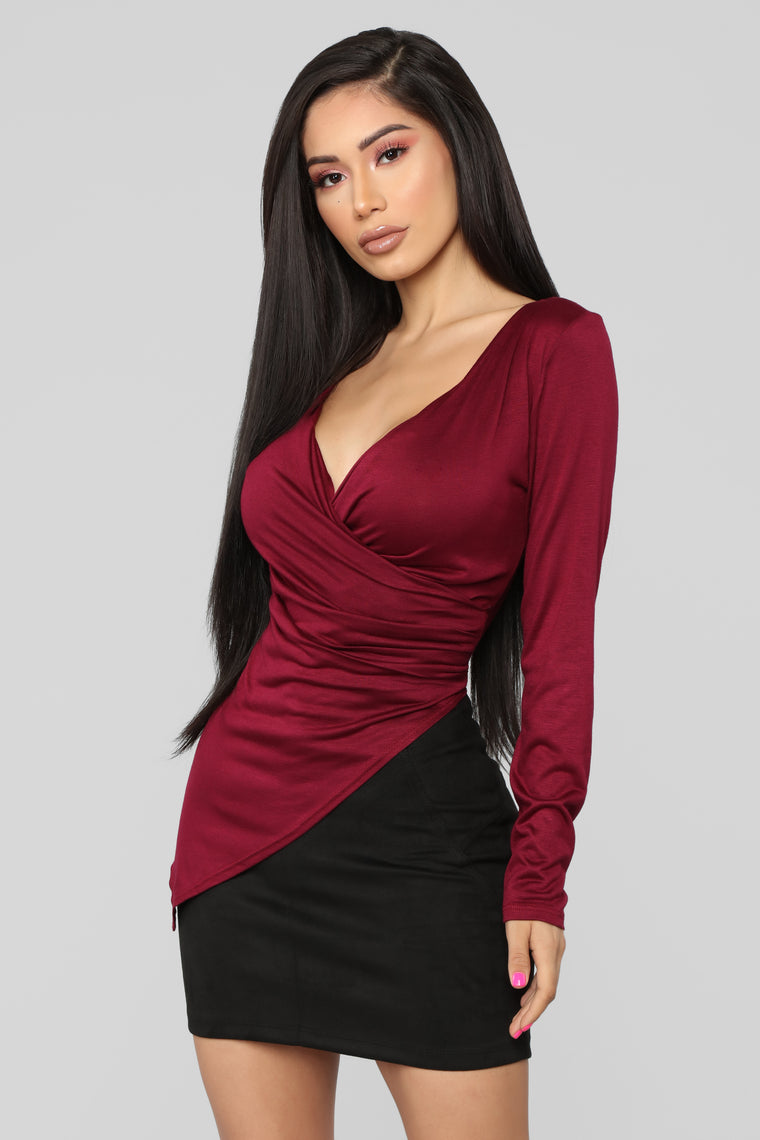 Draped Down Tunic - Burgundy