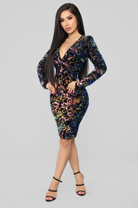 Sparks Between Us Sequin Dress - Iridescent Navy Angle 1