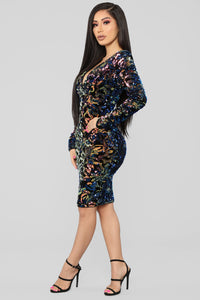 Sparks Between Us Sequin Dress - Iridescent Navy Angle 3