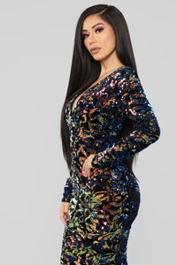 Sparks Between Us Sequin Dress - Iridescent Navy Angle 4
