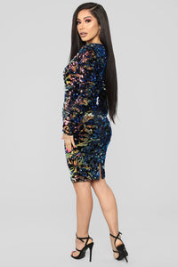 Sparks Between Us Sequin Dress - Iridescent Navy Angle 5