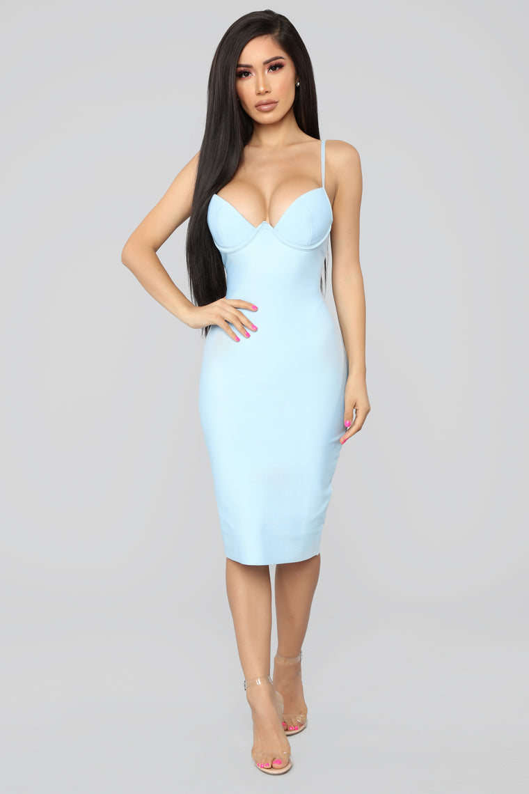 Caught Your Attention Midi Dress - Light Blue