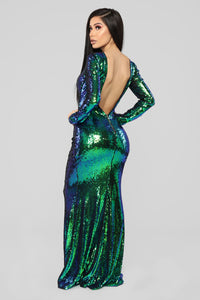 Date With The Night Sequin Dress - Green