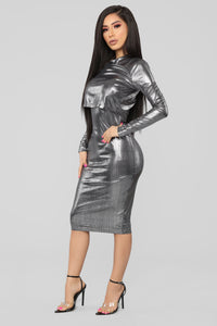 We Only Have Tonight Midi Dress - Silver