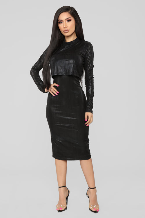 We Only Have Tonight Midi Dress - Black