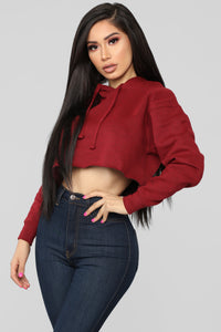 Gonna Make It Mine Cropped Hoodie - Burgundy