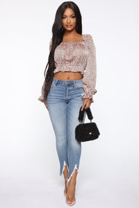 Secrets Unfold Polka Dot Top - Blush