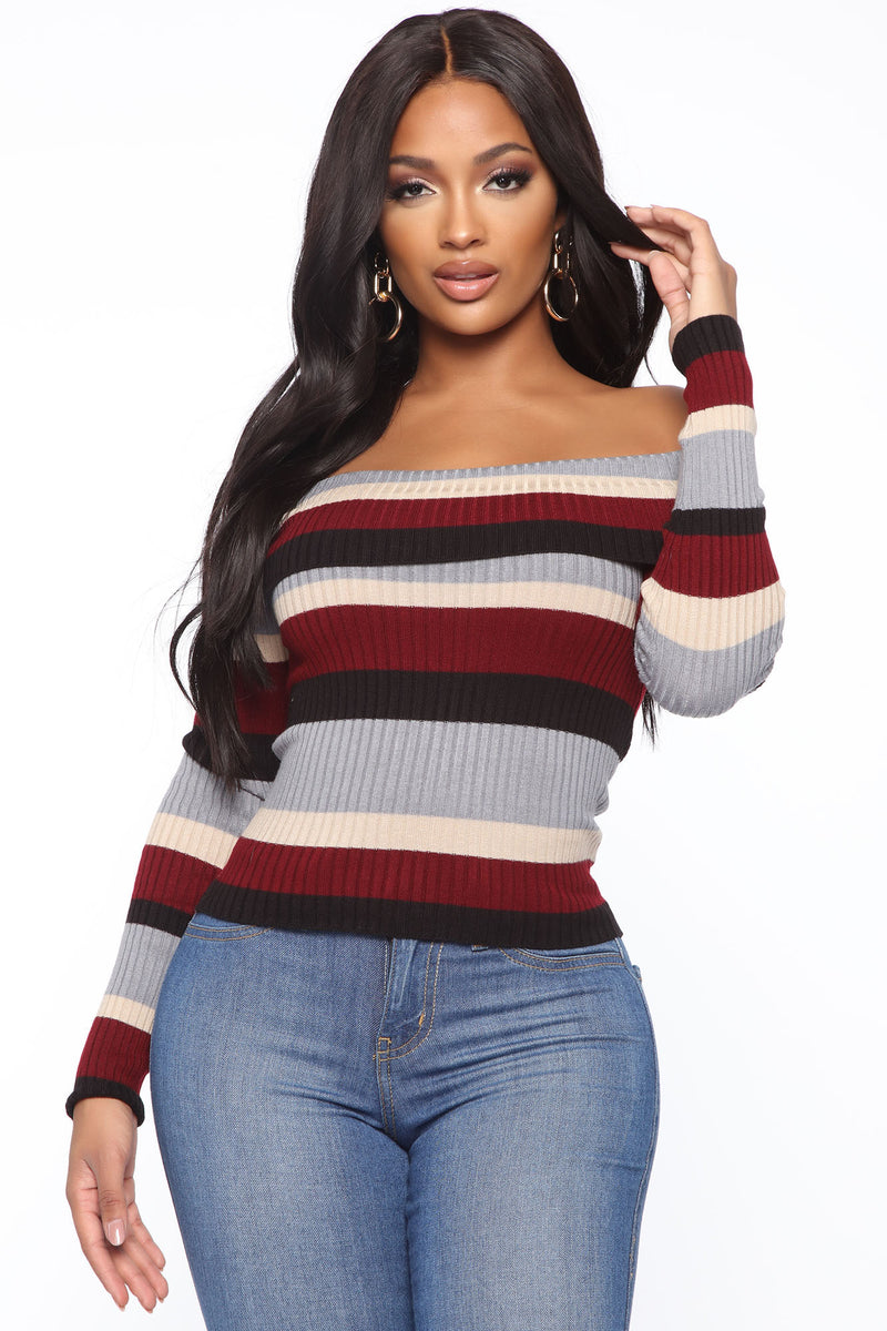 Just Brush It Off Shoulder Sweater Blue Sweaters