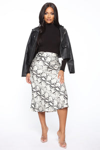 Sly Moves Snake Print Midi Skirt - Grey/combo