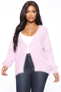 Camera Fuzzy Cardigan Sweater - Lilac