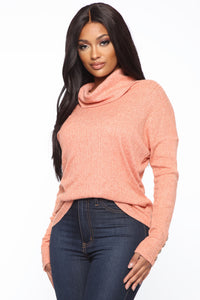 With You Ribbed Top - Coral