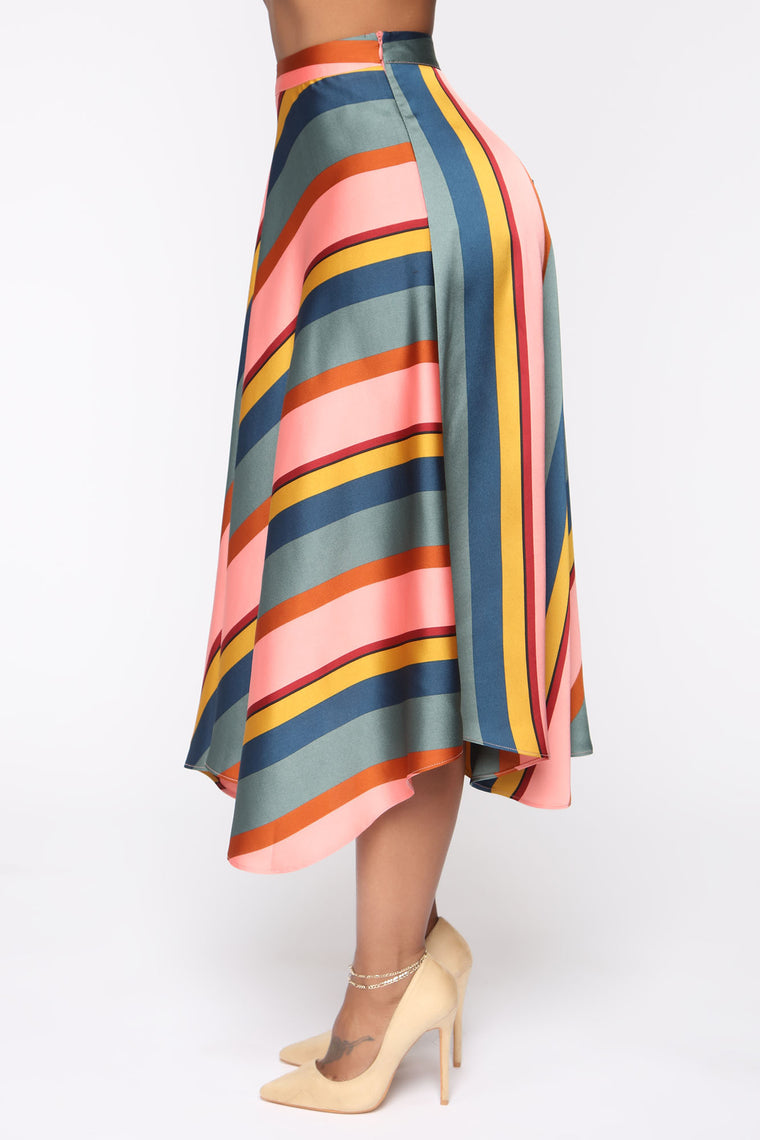 Feel The Groove Striped Satin Skirt - Pink