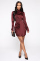 Raise Your Glass Satin Mini Dress - Red/Brown