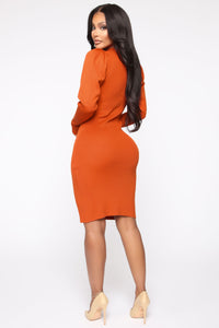 Night Owl Sweater Midi Dress - Orange