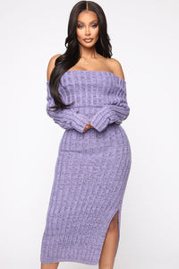 More To It Sweater Midi Dress - Lavender