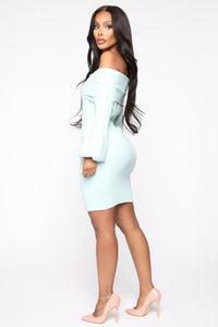 Need You Back Sweater Mini Dress - Mint Angle 3