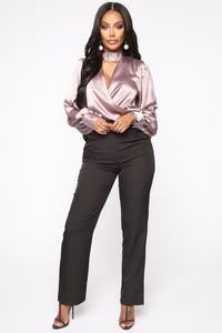 Sparkling Champagne Satin Top - Purple