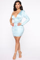 Turn My World Around Mini Dress - Dusty Blue