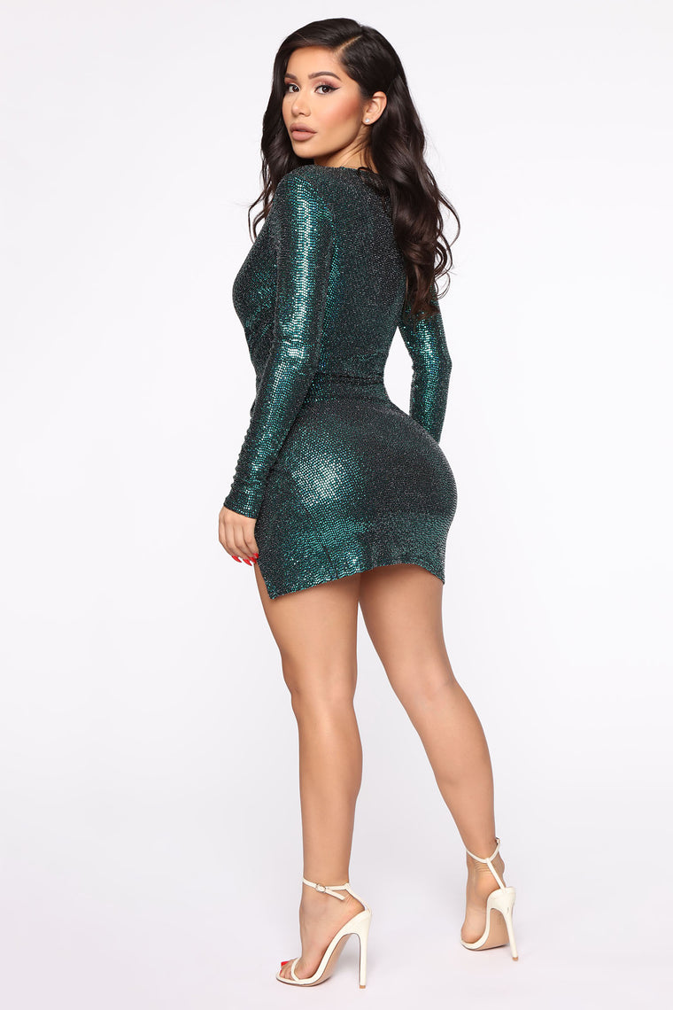 Mad Tight Sequin Mini Dress - Hunter