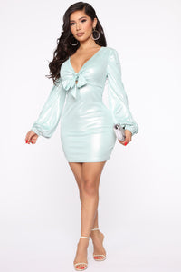 You Got Me Suede Mini Dress - Mint Angle 1