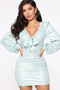 You Got Me Suede Mini Dress - Mint Angle 2